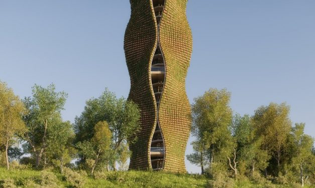 11,520 potted plants clad this rippling observatory tower concept by NUDES